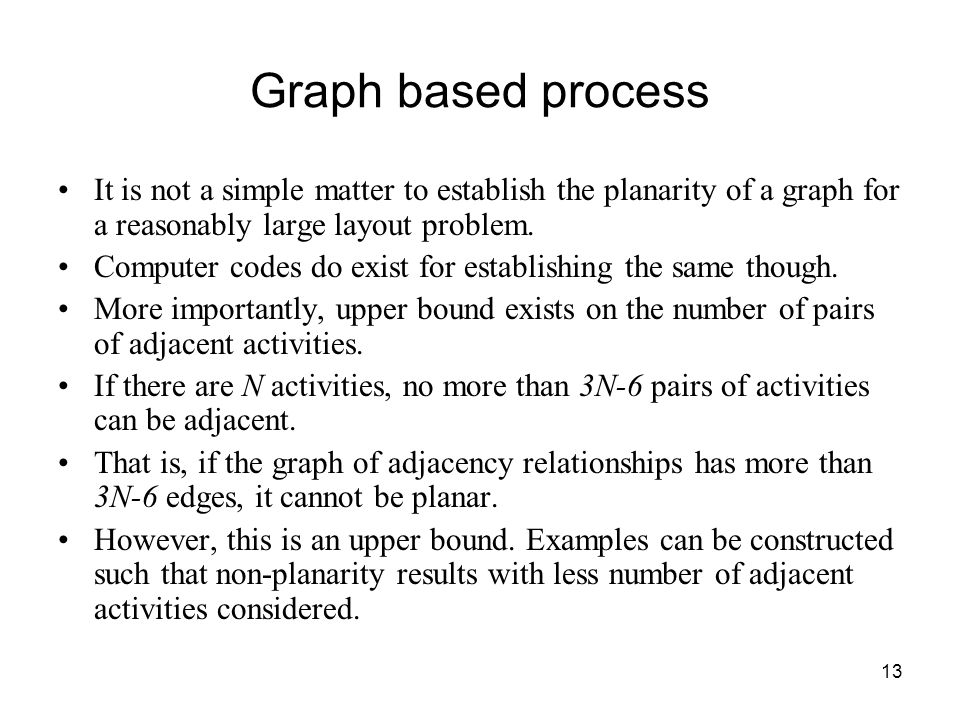 13 Graph based process It is not a simple matter to establish the planarity of a graph for a reasonably large layout problem.
