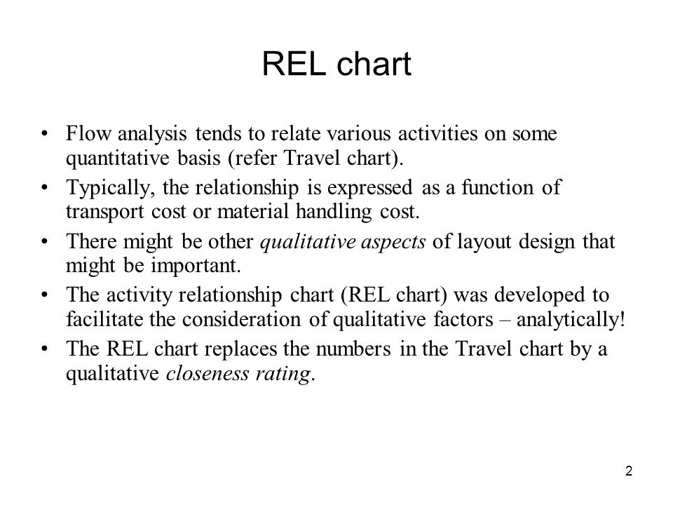 2 REL chart Flow analysis tends to relate various activities on some quantitative basis (refer Travel chart).