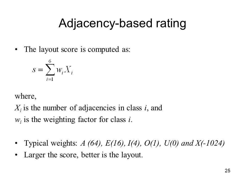 25 Adjacency-based rating The layout score is computed as: where, X i is the number of adjacencies in class i, and w i is the weighting factor for class i.