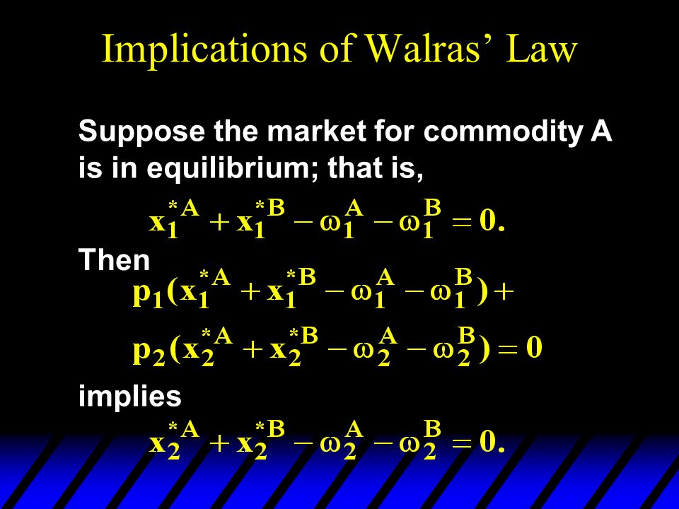 Implications of Walras' Law Suppose the market for commodity A is in equilibrium; that is, Then implies