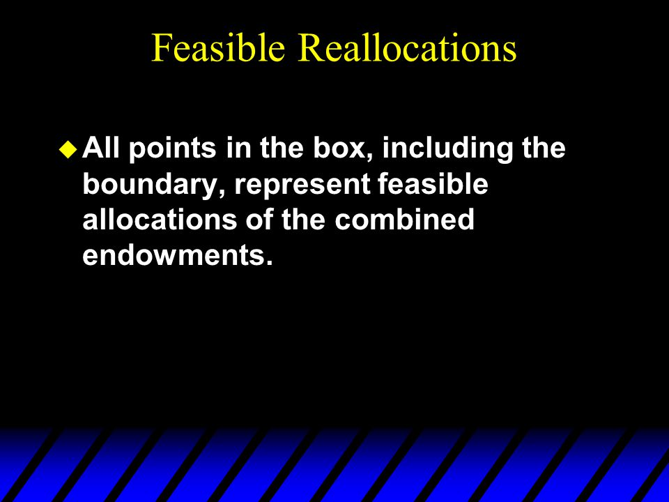 u All points in the box, including the boundary, represent feasible allocations of the combined endowments.