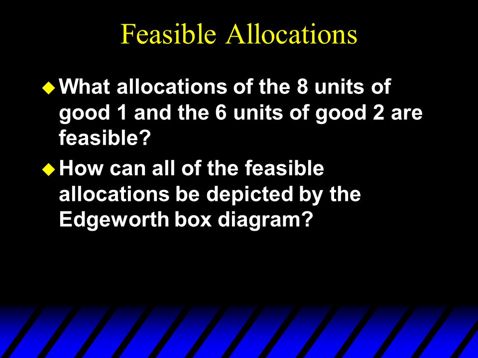 Feasible Allocations u What allocations of the 8 units of good 1 and the 6 units of good 2 are feasible.