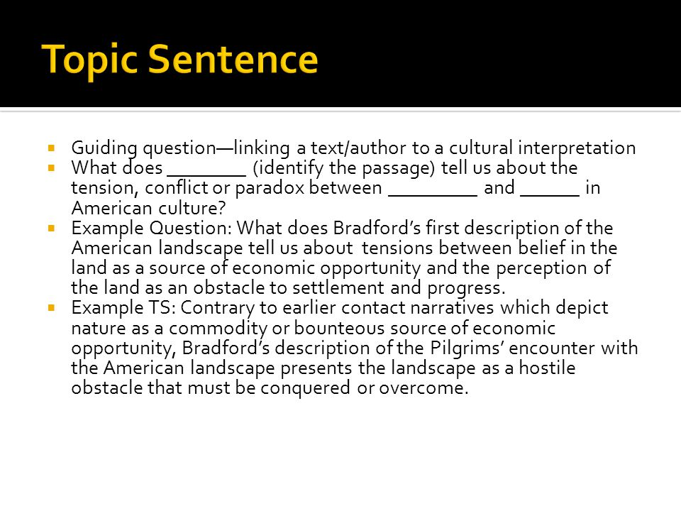  Guiding question—linking a text/author to a cultural interpretation  What does ________ (identify the passage) tell us about the tension, conflict or paradox between _________ and ______ in American culture.