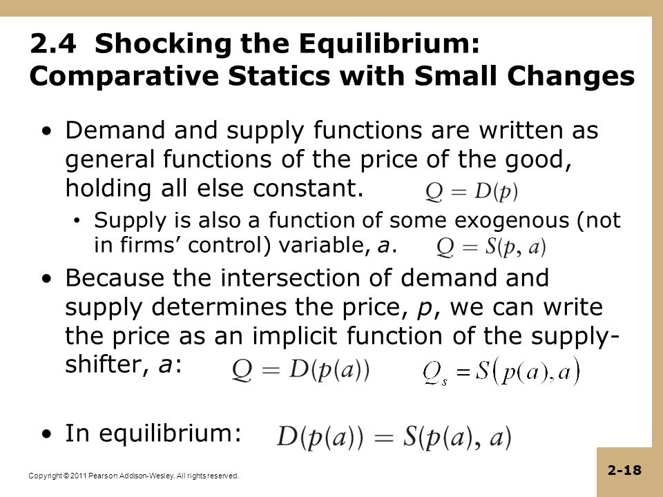Copyright © 2011 Pearson Addison-Wesley. All rights reserved. 2-18 2.4 Shocking the Equilibrium: Comparative Statics with Small Changes Demand and sup