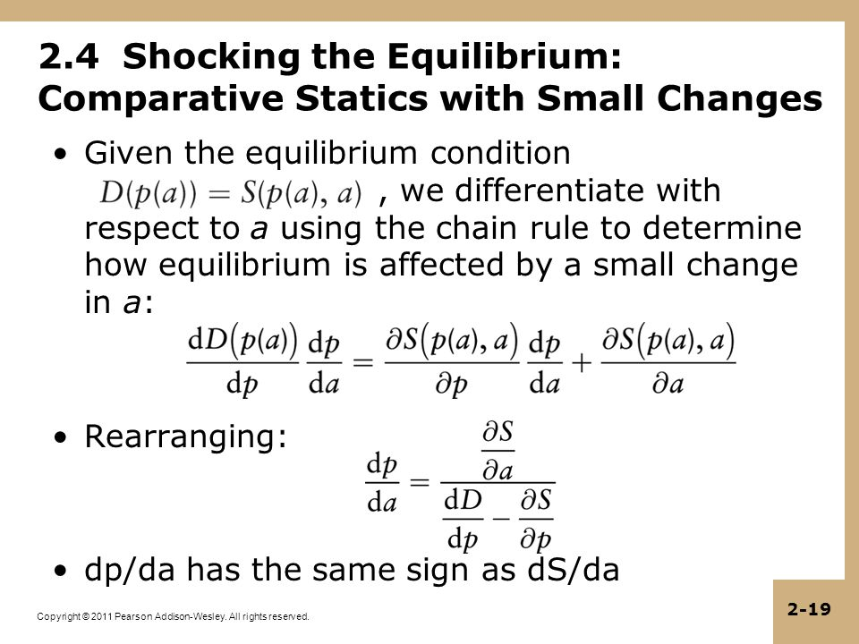 Copyright © 2011 Pearson Addison-Wesley. All rights reserved. 2-19 2.4 Shocking the Equilibrium: Comparative Statics with Small Changes Given the equi