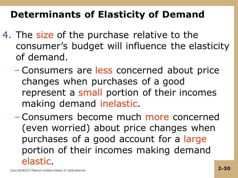 Copyright © 2011 Pearson Addison-Wesley. All rights reserved. 2-30 Determinants of Elasticity of Demand 4.The size of the purchase relative to the con