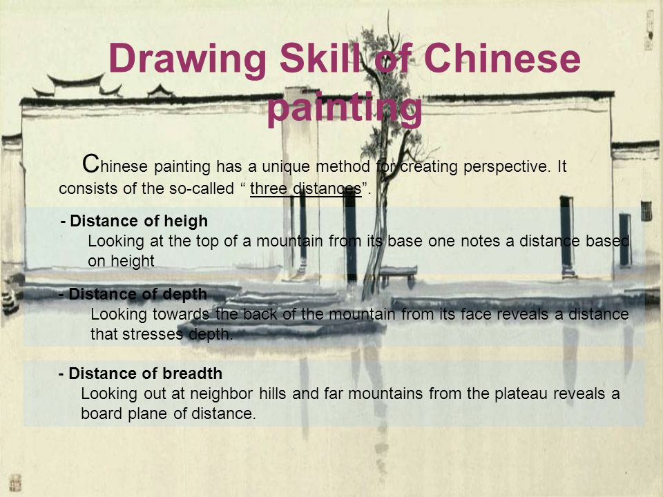 Drawing Skill of Chinese painting C hinese painting has a unique method for creating perspective.