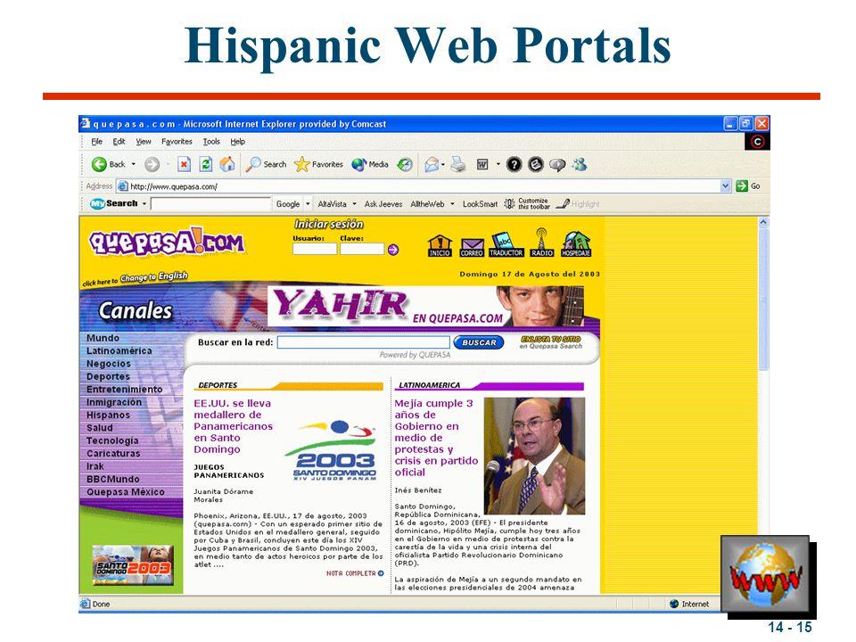 14 - 15 Hispanic Web Portals