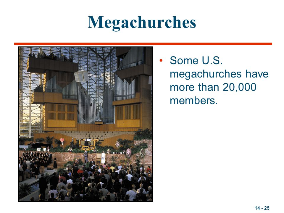 14 - 25 Megachurches Some U.S. megachurches have more than 20,000 members.