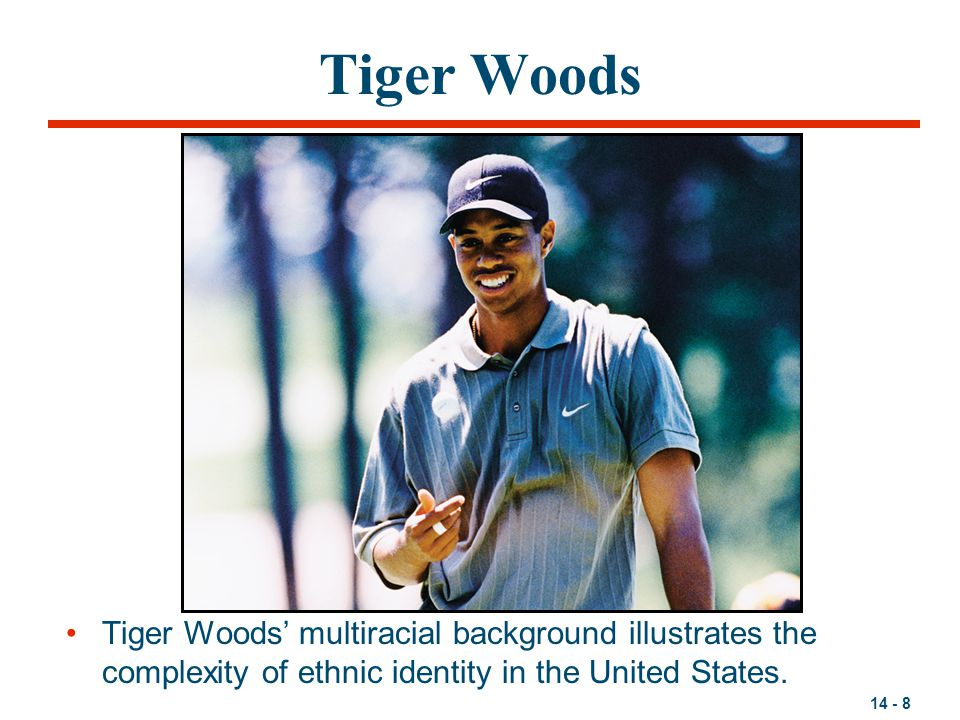 14 - 8 Tiger Woods Tiger Woods' multiracial background illustrates the complexity of ethnic identity in the United States.