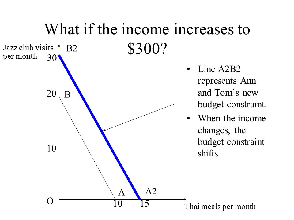 What if the income increases to $300? Line A2B2 represents Ann and Tom's new budget constraint. When the income changes, the budget constraint shifts.