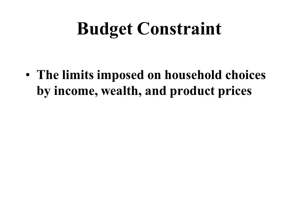 Choice or Opportunity Set The set of options that is defined and limited by a budget constraint