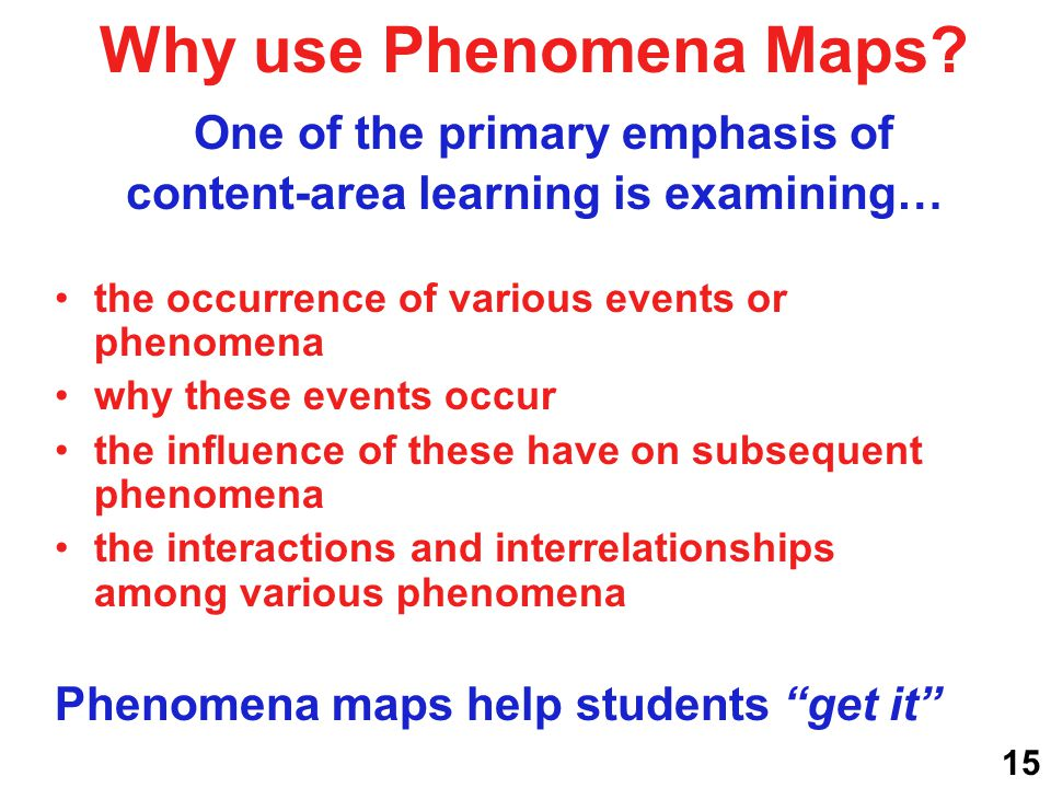 Why use Phenomena Maps? One of the primary emphasis of content-area learning is examining… the occurrence of various events or phenomena why these eve