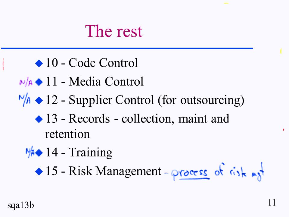 11 sqa13b The rest u 10 - Code Control u 11 - Media Control u 12 - Supplier Control (for outsourcing) u 13 - Records - collection, maint and retention u 14 - Training u 15 - Risk Management