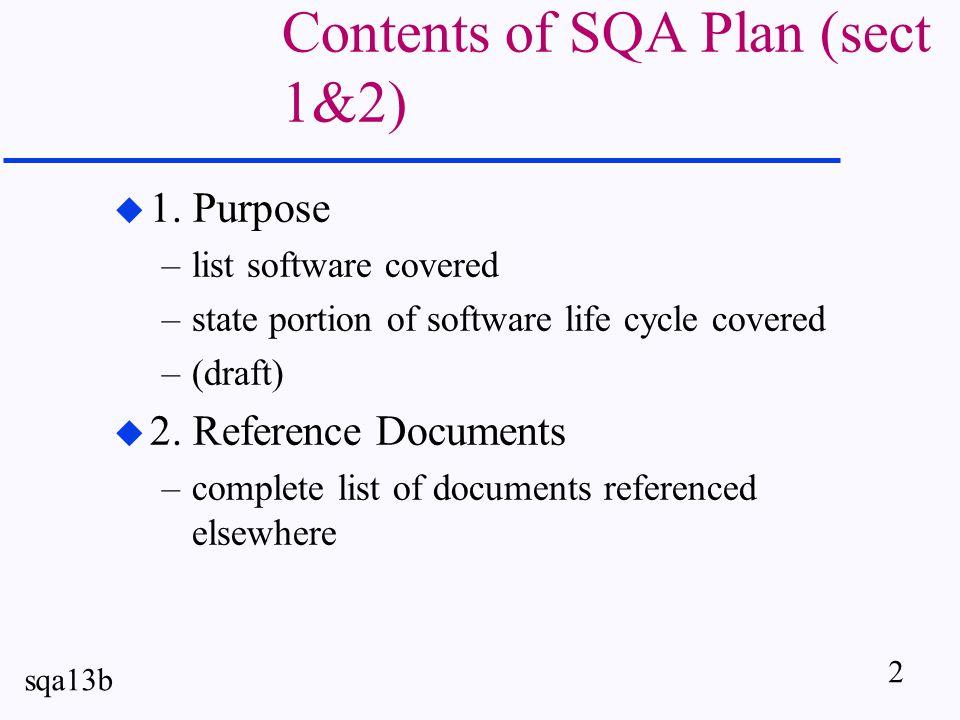 2 sqa13b Contents of SQA Plan (sect 1&2) u 1.