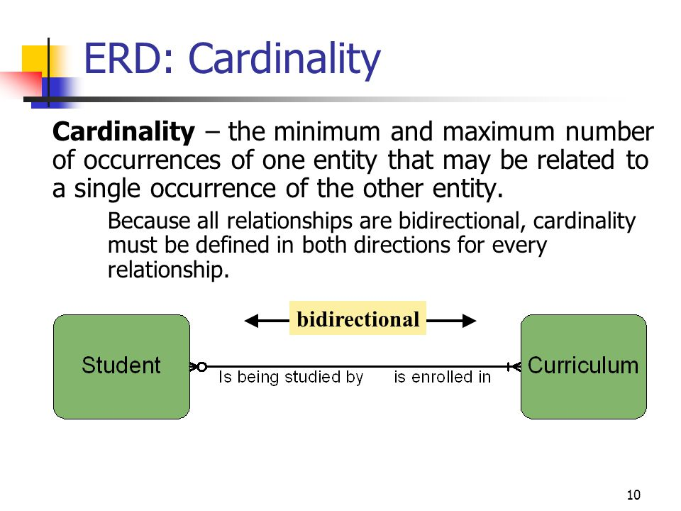 10 ERD: Cardinality Cardinality – the minimum and maximum number of occurrences of one entity that may be related to a single occurrence of the other entity.
