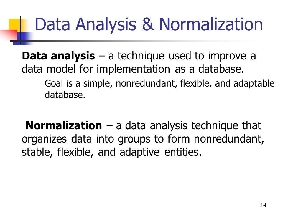 14 Data Analysis & Normalization Data analysis – a technique used to improve a data model for implementation as a database.