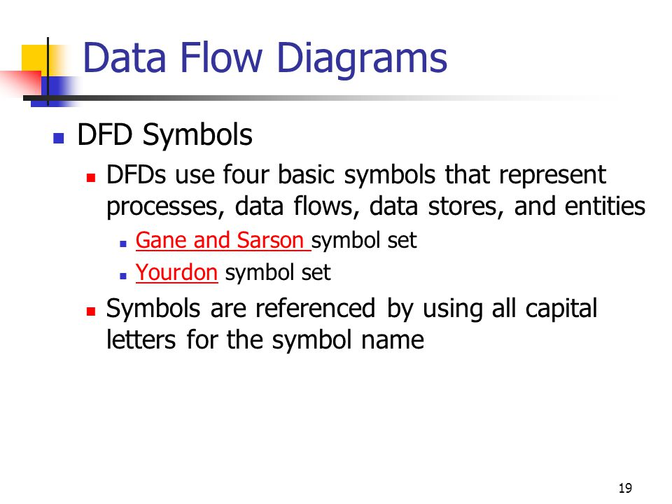 19 Data Flow Diagrams DFD Symbols DFDs use four basic symbols that represent processes, data flows, data stores, and entities Gane and Sarson symbol s