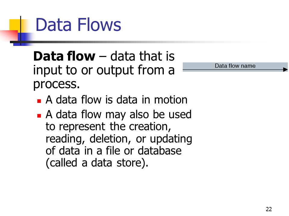 22 Data flow – data that is input to or output from a process. A data flow is data in motion A data flow may also be used to represent the creation, r