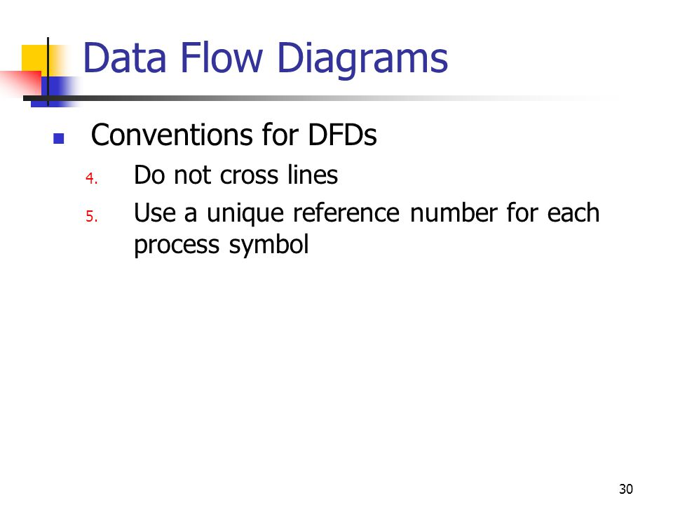 30 Data Flow Diagrams Conventions for DFDs 4.Do not cross lines 5.