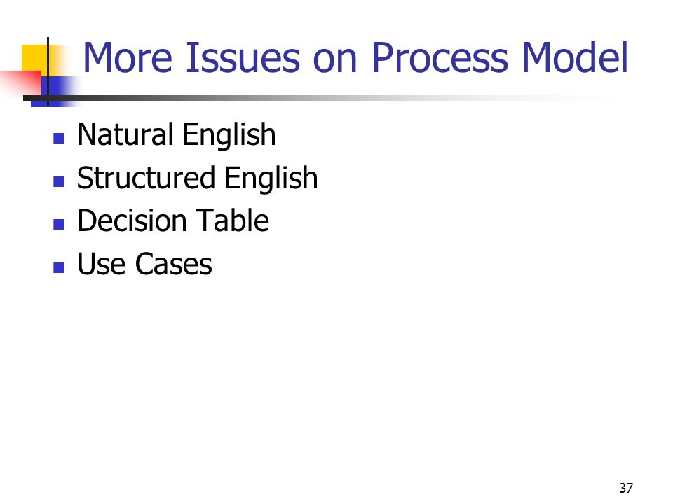37 More Issues on Process Model Natural English Structured English Decision Table Use Cases