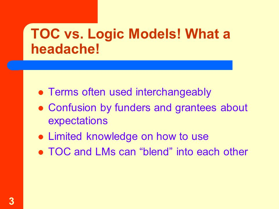 3 TOC vs. Logic Models. What a headache.
