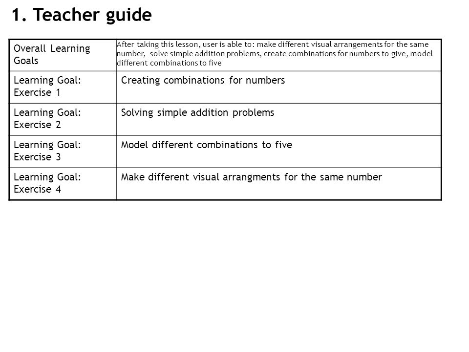 1. Teacher guide Overall Learning Goals After taking this lesson, user is able to: make different visual arrangements for the same number, solve simpl