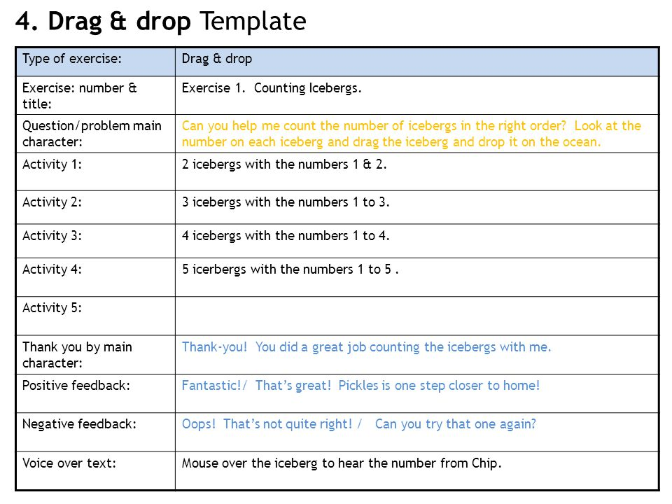 4. Drag & drop Template Type of exercise:Drag & drop Exercise: number & title: Exercise 1.