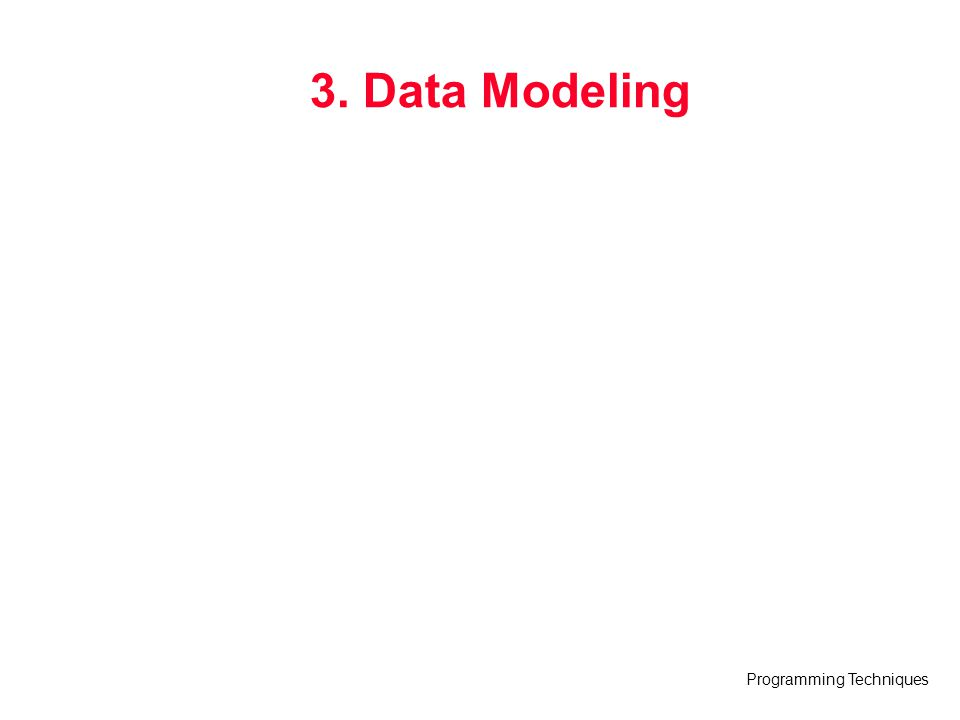 Programming Techniques 3. Data Modeling