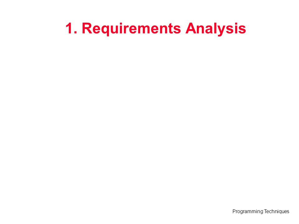 Programming Techniques Requirements Analysis Requirements analysis –specifies software's operational characteristics –indicates software s interface with other system elements –establishes constraints that software must meet Requirements analysis allows the software engineer (called an analyst or modeler in this role) to: –elaborate on basic requirements established during earlier requirement engineering tasks –build models that depict user scenarios, functional activities, problem classes and their relationships, system and class behavior, and the flow of data as it is transformed.
