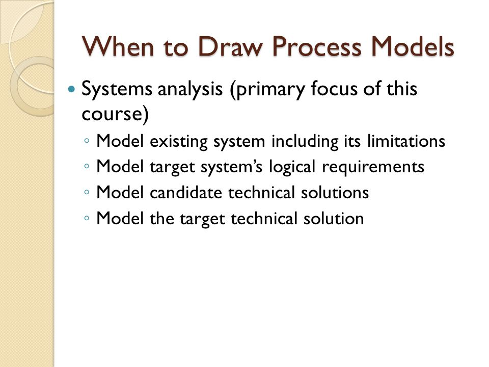 When to Draw Process Models Systems analysis (primary focus of this course) ◦ Model existing system including its limitations ◦ Model target system's