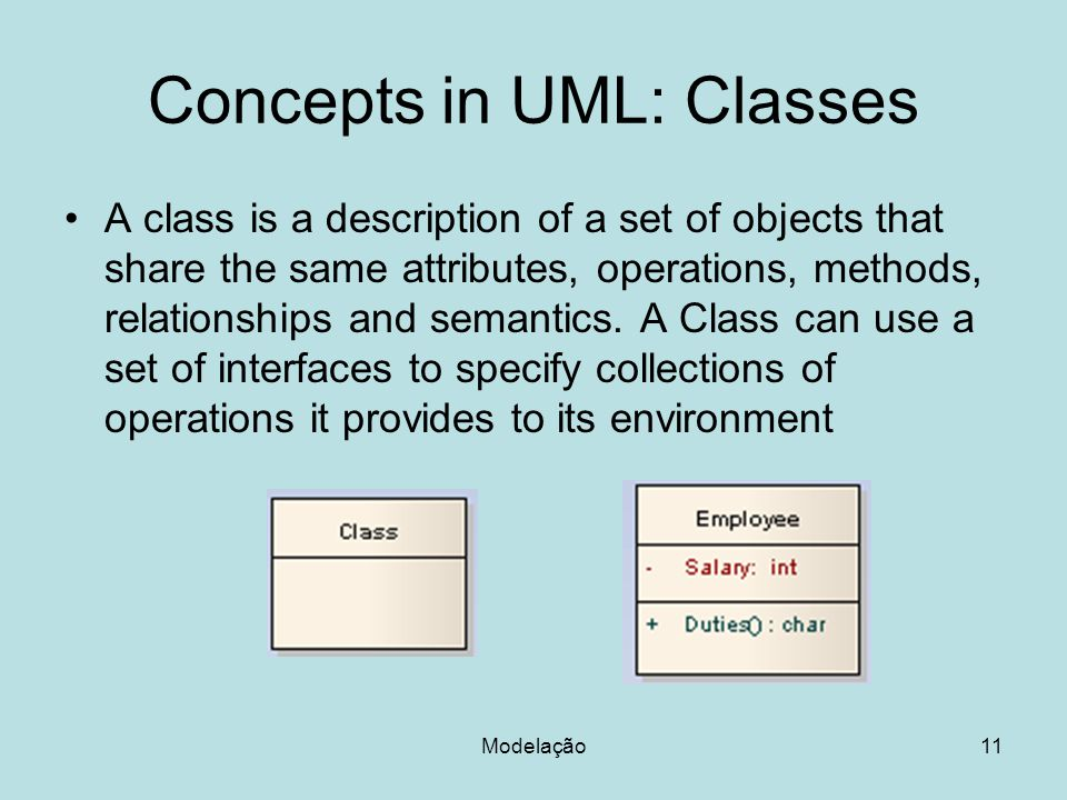 Concepts in UML: Classes A class is a description of a set of objects that share the same attributes, operations, methods, relationships and semantics.