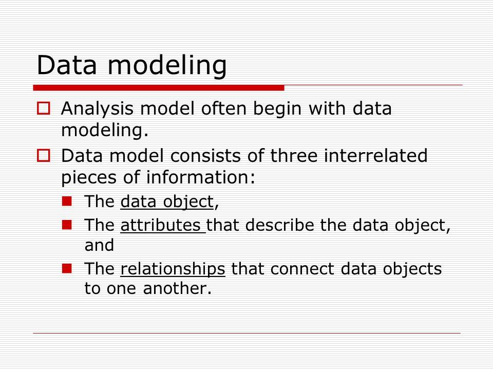 Data modeling  Analysis model often begin with data modeling.