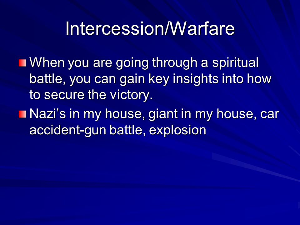 Intercession/Warfare When you are going through a spiritual battle, you can gain key insights into how to secure the victory.