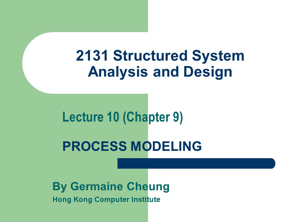 2131 Structured System Analysis and Design By Germaine Cheung Hong Kong Computer Institute Lecture 10 (Chapter 9) PROCESS MODELING