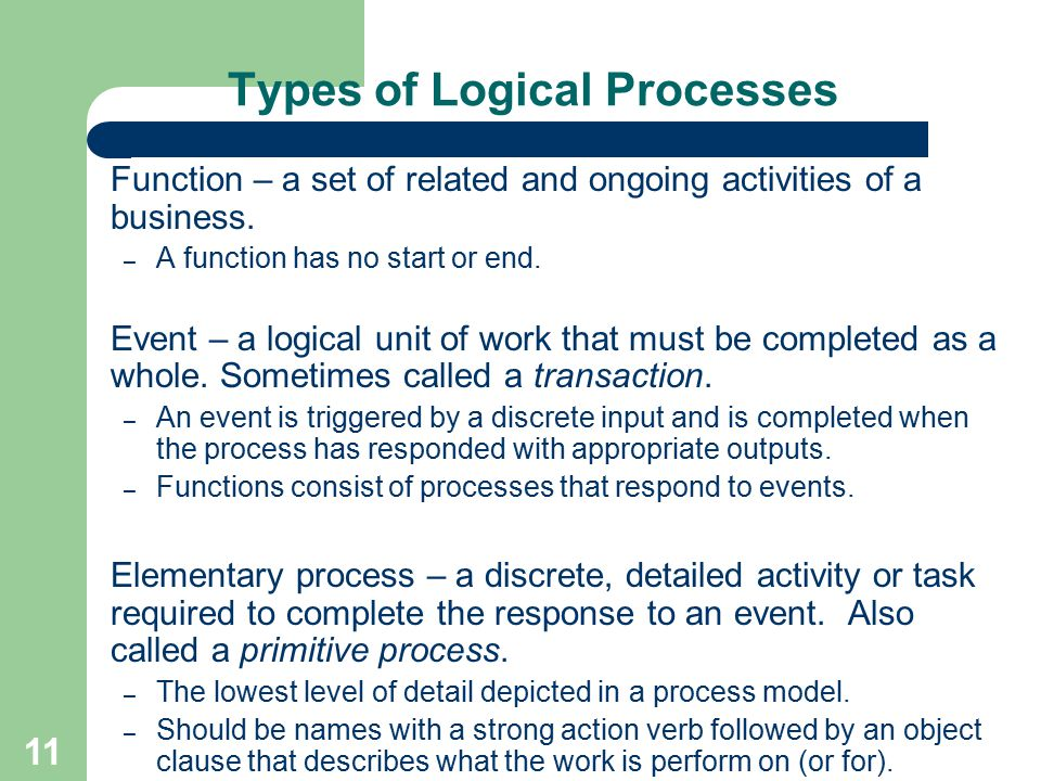 11 Types of Logical Processes Function – a set of related and ongoing activities of a business. – A function has no start or end. Event – a logical un