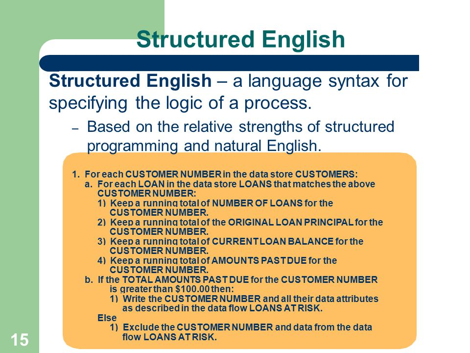 15 1. For each CUSTOMER NUMBER in the data store CUSTOMERS: a. For each LOAN in the data store LOANS that matches the above CUSTOMER NUMBER: 1) Keep a