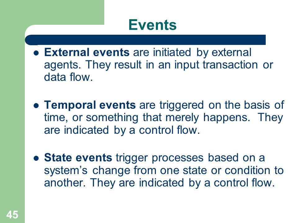 45 Events External events are initiated by external agents. They result in an input transaction or data flow. Temporal events are triggered on the bas