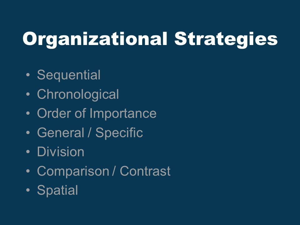 Organizational Strategies Sequential Chronological Order of Importance General / Specific Division Comparison / Contrast Spatial
