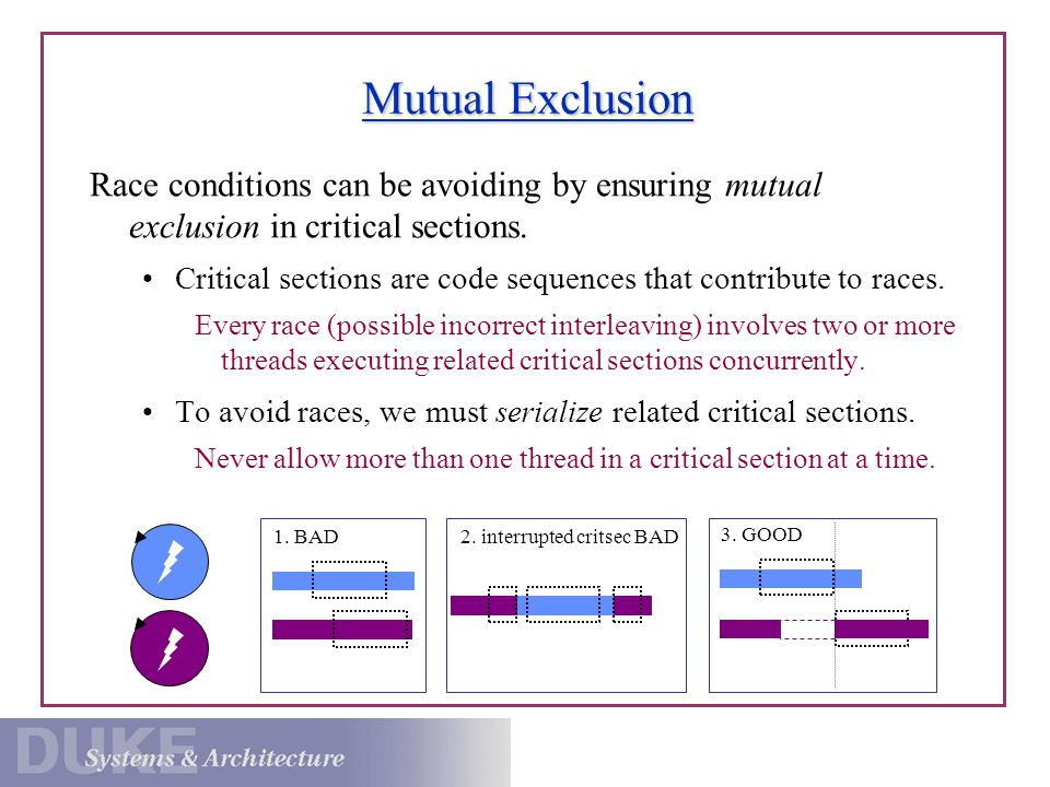Mutual Exclusion Race conditions can be avoiding by ensuring mutual exclusion in critical sections.