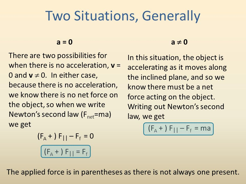 Two Situations, Generally a = 0 There are two possibilities for when there is no acceleration, v = 0 and v  0. In either case, because there is no ac