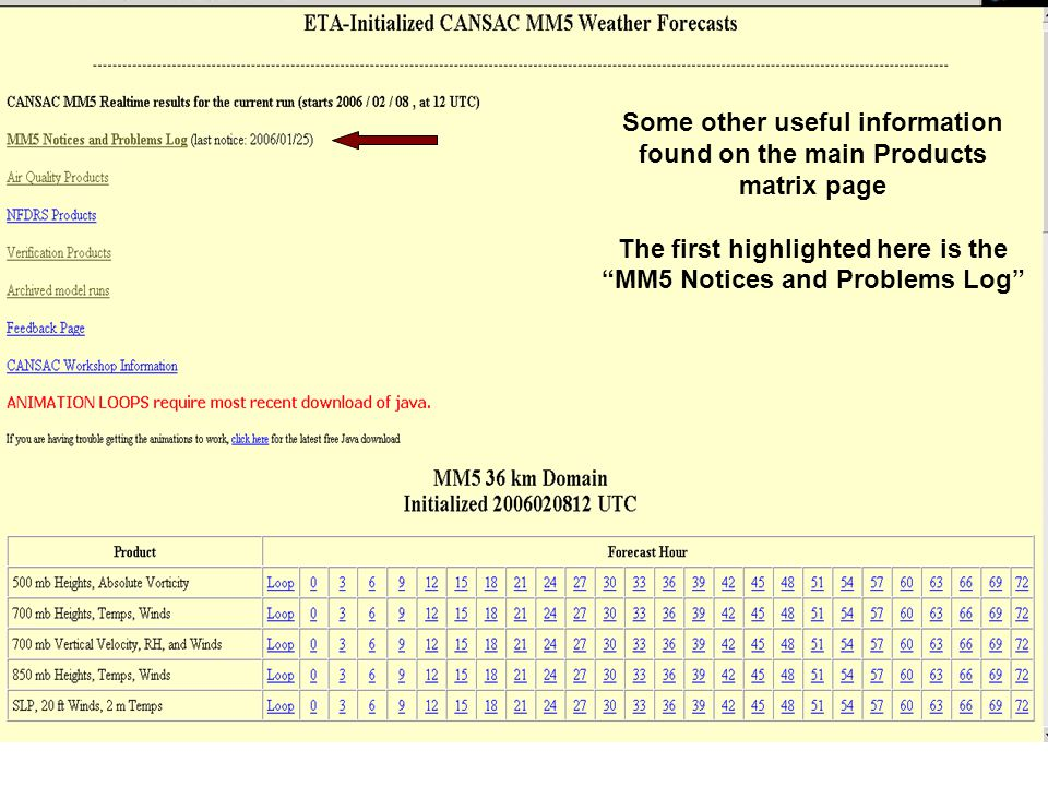 Some other useful information found on the main Products matrix page The first highlighted here is the MM5 Notices and Problems Log