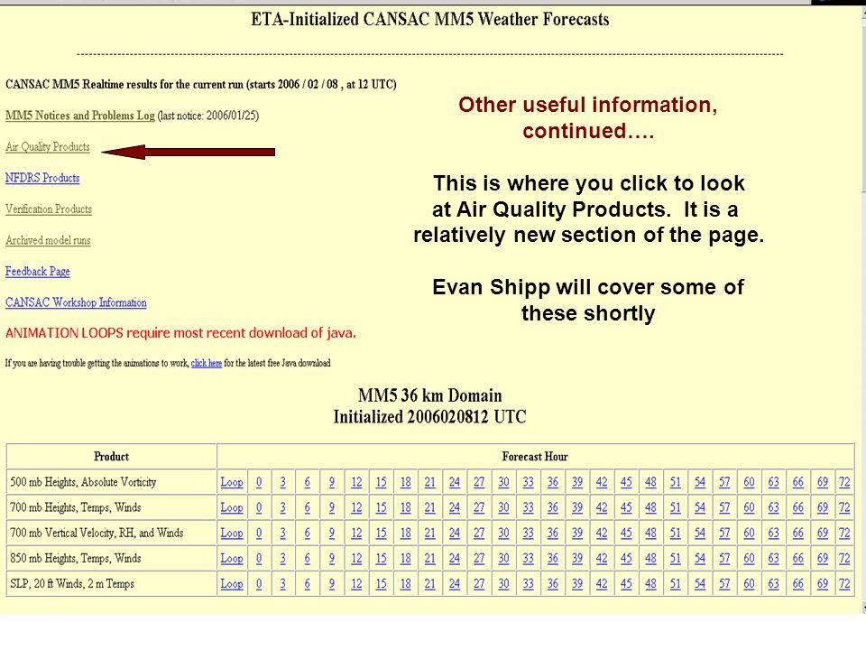Other useful information, continued…. This is where you click to look at Air Quality Products.