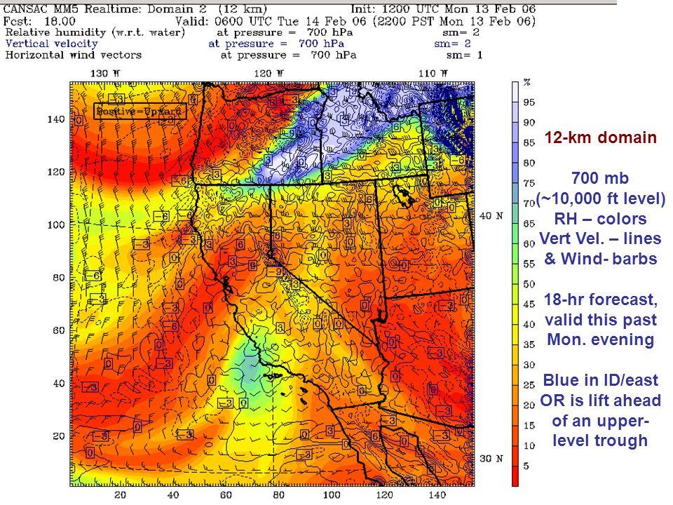 12-km domain 700 mb (~10,000 ft level) RH – colors Vert Vel.