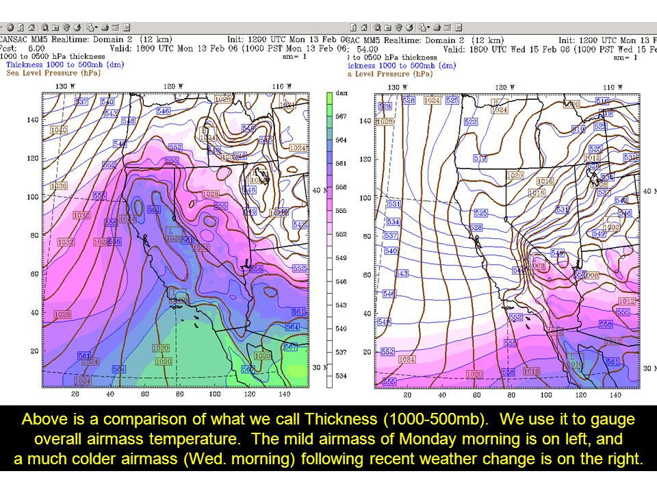 12-km domain Surface level Temps – colors Pressure – lines Wind- barbs 15-hr forecast, valid back on Monday, when CA was still in warm airmass