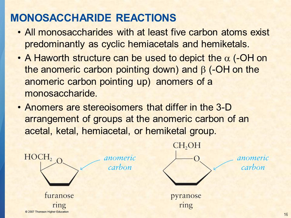 16 MONOSACCHARIDE REACTIONS All monosaccharides with at least five carbon atoms exist predominantly as cyclic hemiacetals and hemiketals. A Haworth st