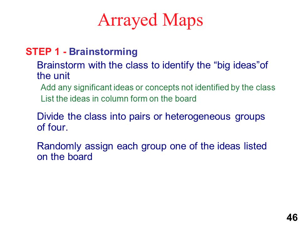 Arrayed Maps STEP 2 - Constructing OPTION 1:Allow each group to analyze their topic and then select and then develop the type of phenomena map that best fits that topic -OR- OPTION 2:Randomly assign each group a different phenomena map and have them develop it based on the big idea they were assigned.