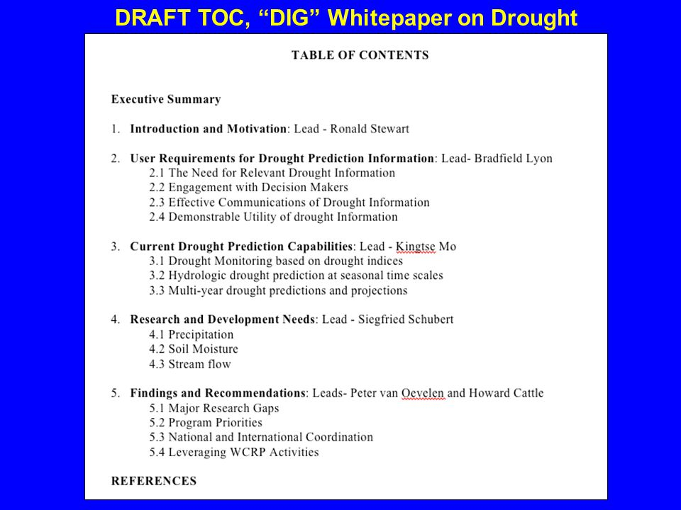 DRAFT TOC, DIG Whitepaper on Drought