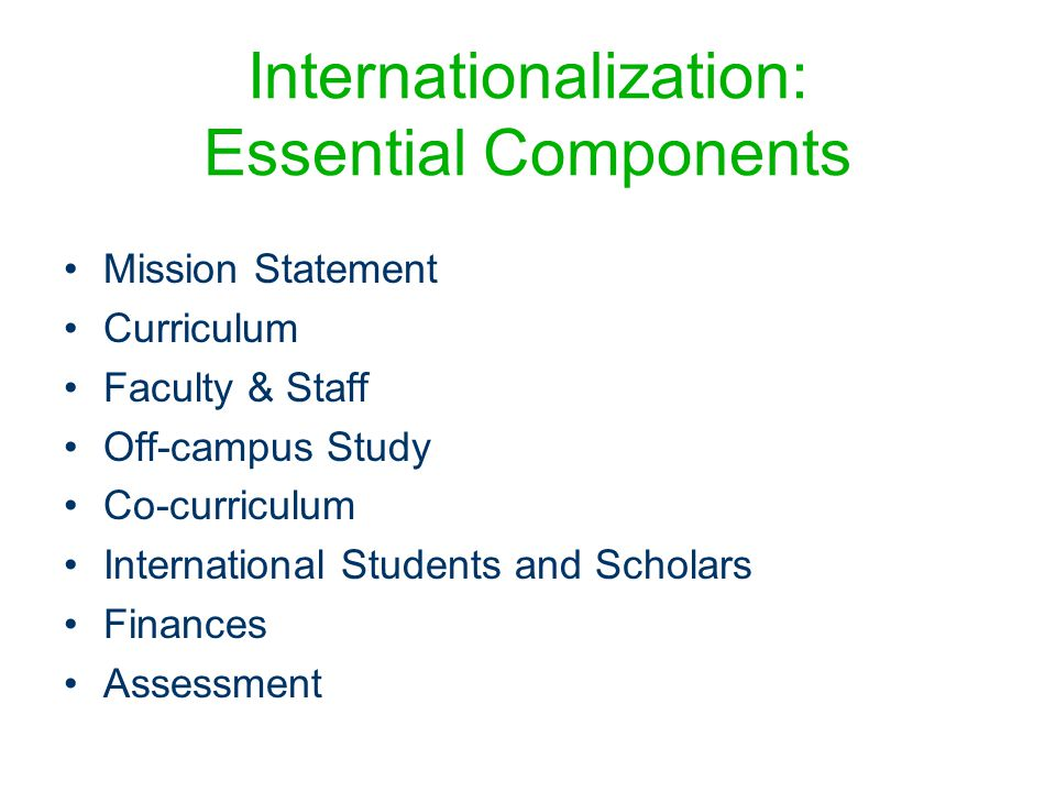 Internationalization: Essential Components Mission Statement Curriculum Faculty & Staff Off-campus Study Co-curriculum International Students and Scholars Finances Assessment