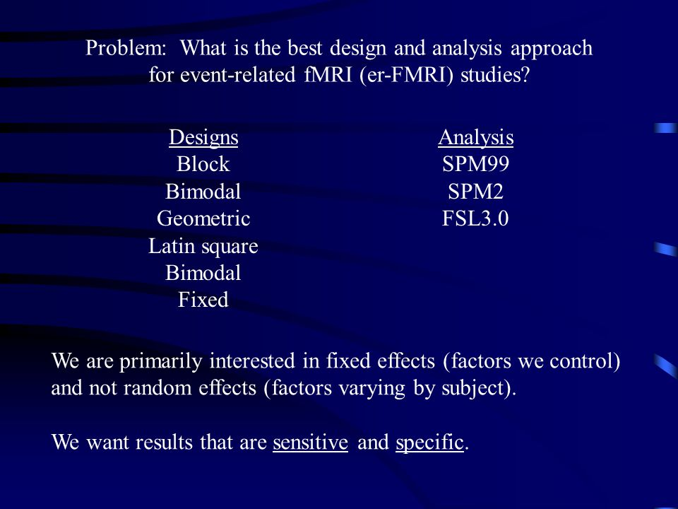 Problem: What is the best design and analysis approach for event-related fMRI (er-FMRI) studies.